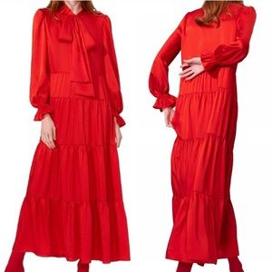 Zara Red Ruffle Tiered Maxi Dress Size Medium